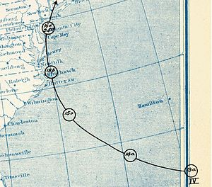 1903 New Jersey hurricane - Image: 1903 Hurricane 4 Operational Track