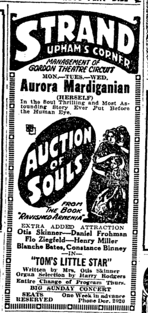 Strand Theatre (Dorchester, Massachusetts) - Advertisement, 1919, for Aurora Mardiganian's Ravished Armenia