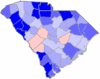 Blue counties were won by McNair and red counties were won by Rogers