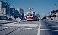 1983 SF Historic Trolley Festival - PCCs parked on then-dead-end track on Market west of Duboce.jpg