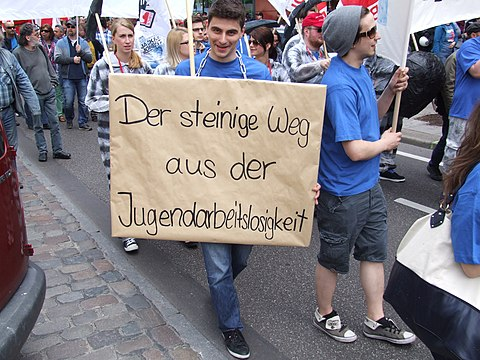 Young people protest about youth unemployment in Hamburg.