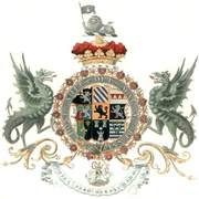 These arms of John Churchill, 1st Duke of Marlborough, are encircled by both the Garter and the collar.