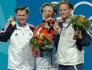 Michael Anti (sport shooter) - Michael Anti (left) poses with Jia Zhanbo (center) and Christian Planer (right) at the three position rifle award ceremony on August 22, 2004.