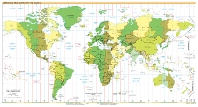 Standard Time Zones of the World as of 2007.
