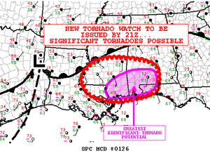 Tornado outbreak of February 23–24, 2016 - Mesoscale convective outlook from the Storm Prediction Center (SPC) highlighting the potential for significant tornadoes in parts of the Southeast on February 23.