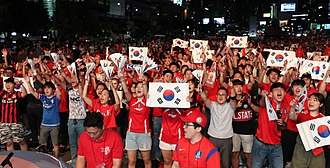 """Sport in South Korea - South Korean fans, the """"Red Devils"""", watch the 2018 World Cup match"""