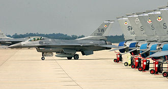 20th Operations Group - General Dynamics F-16CJ Block 50D (91-0380) of the 55th Fighter Squadron returns to the parking ramp after another local training mission