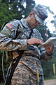 2nd Lt. Victor Dominguez preparex for the land navigation course (7646885204).jpg