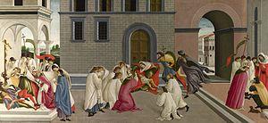 Scenes from the Life of Saint Zenobius - Three miracles, London, 66.5 x 149.5 cm