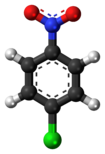 Ball-and-stick model of the 4-nitrochlorobenzene molecule