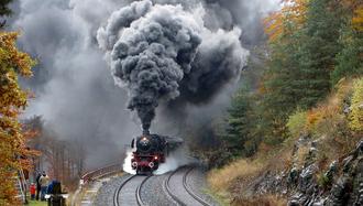 Steam locomotive - 41 018 of the Deutsche Reichsbahn climbing the famous Schiefe Ebene in Germany, 2016.