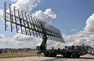 Antenna array - Large planar array antenna of a VHF Russian mobile air defense radar, the Nebo-M. It consists of 175 Yagi folded dipole antennas driven in phase.  It radiates a narrow beam of radio waves perpendicular to the antenna.