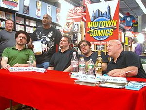 Brian Michael Bendis - Bendis (far right) at a Manhattan book signing with fellow writers (seated left to right) Ed Brubaker, Christos Gage and Matt Fraction.