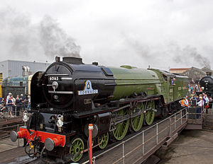 Tyseley Locomotive Works - New build steam locomotive 60163 Tornado at the Tyseley 101 Gala. Built at Darlington Locomotive Works, her frames were laid down and assembled at Tyseley in 1995