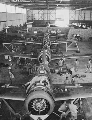 No. 67 Squadron RAF - Brewster Buffaloes of 67 Squadron being re-assembled at Singapore following shipment from the USA. February 1941
