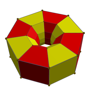 8-8 duoprism - A perspective view of half of the octagonal prisms along one direction, alternately colored.