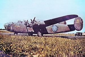 2d Combat Bombardment Wing - 93d Bombardment Group B-24D Liberator 41-23711, at RAF Alconbury, England, 1942.