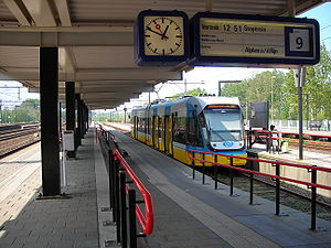 Gouda railway station - A RijnGouweLijn train on platform 9 of the railway station in Gouda