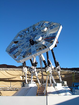 Stewart platform - The AMiBA radio telescope, a Cosmic Microwave Background experiment, is mounted on a 6 m carbon fibre hexapod.