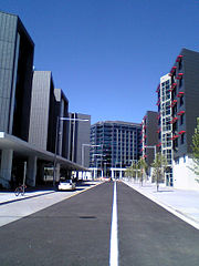 new bus road beside ANU-Lena Karmel Lodge (UniLodge) at the City-West/ANU Exchange development next to the Australian National University campus in Canberra