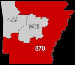 Area code 870 - Image: AR area code 870