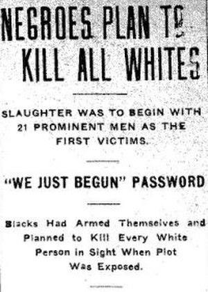 Elaine race riot - Inflammatory headline in The Gazette (Arkansas), October 3, 1919