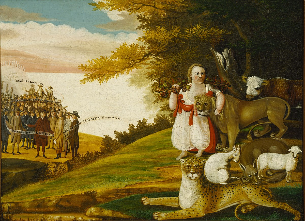 A Peaceable Kingdom with Quakers Bearing Banners 1829-30 Edward Hicks.jpg