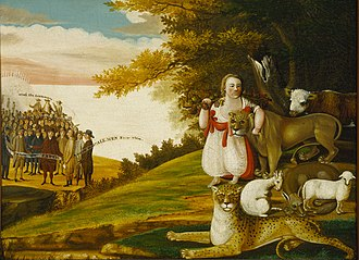 Edward Hicks - A Peaceable Kingdom with Quakers Bearing Banners (1829–30), Terra Foundation for American Art.