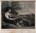 A young child, sitting with a dog, watching her parent, a fe Wellcome V0025649.jpg