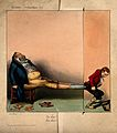 A young lad pulls off a corpulent man's boots. Coloured exte Wellcome V0011788.jpg