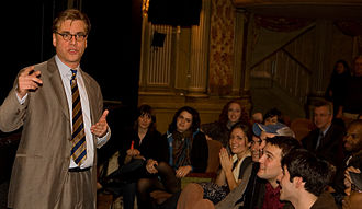 Aaron Sorkin - Aaron Sorkin discussing his play The Farnsworth Invention with an audience at the Music Box Theatre on November 8, 2007.