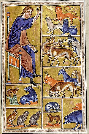 Aberdeen Bestiary - Folio 5 recto : Adam names the animals.