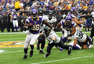 2012 Minnesota Vikings season - Adrian Peterson rushed to a new career franchise record against Jacksonville in week 1, overtaking Robert Smith's 6,818 rushing yards