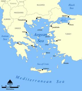 Aegean Sea Part of the Mediterranean Sea between the Balkanian and Anatolian peninsulas