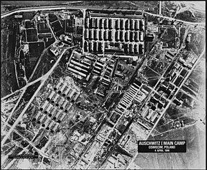 Auschwitz bombing debate - One of a series of aerial reconnaissance photographs of the Auschwitz concentration camp taken between April 4, 1944 and January 14, 1945, but not examined until the 1970s.
