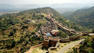 Kumbhalgarh - Aerial view of a portion of the Kumbhalgarh wall