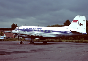 Aeroflot accidents and incidents in the 1960s - An Aeroflot Ilyushin Il-14 at Myachkovo Airport. (1994)