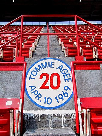 New York Mets player Tommie Agee hit a home run far up in section 48 at the former Shea Stadium on April 10, 1969. Agee Home Run Spot.jpg