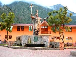 "Sapa Inca - Representation of the Sapa Inca, Pachacuti, wearing the ""Mascapaicha"" (royal crown), in the main square of Aguas Calientes, Peru"