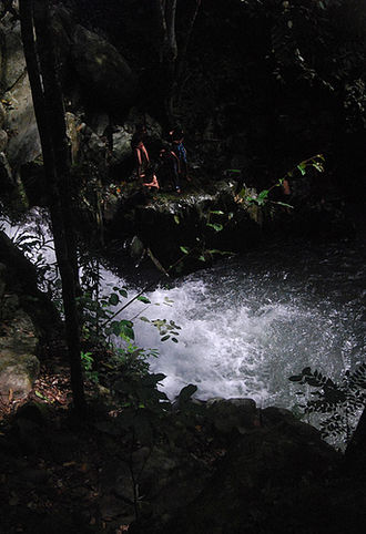 The Amazing Race 24 - The Roadblock in Sabah had teams rappelling down the Kiansom Waterfall.