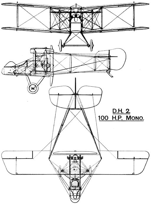 Airco D.H.2 British First World War single seat fighter rigging drawing
