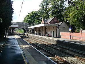 Alderley Edge railway station - Southward view from the Crewe-bound platform.