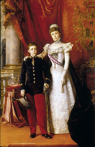 Alfonso XIII of Spain - Alfonso XIII and his mother, María Cristina (who served as regent until 1902). Painted by  Luis Álvarez Catalá,  1898.