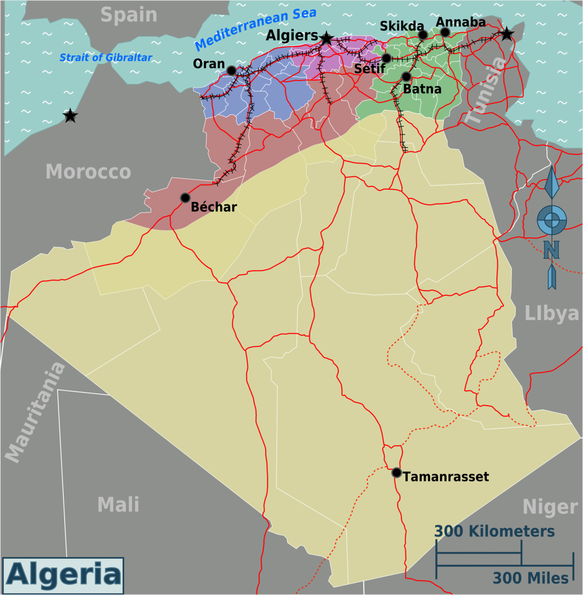 Algeria Travel Guide At Wikivoyage - Cities map of algeria