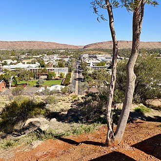 Alice Springs - View of Alice Springs from Anzac Hill, with MacDonnell Ranges and Heavitree Gap in the background