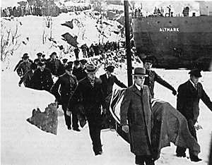 Norwegian Campaign - German dead are brought ashore for burial after the Altmark Incident