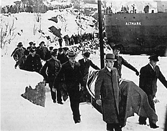 Norwegian Campaign - German dead are brought ashore for burial after the Altmark Incident.