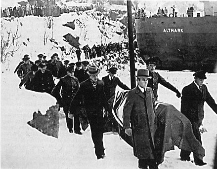 German dead being brought ashore from the German naval tanker Altmark. Altmark Incident.jpg
