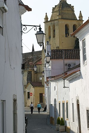 Alvito, Portugal - View of a street in Alvito. The yellow building in the background is the main church (matriz) of the village.