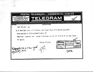 USS America (ID-3006) - Telegram from SS Amerika via SS Titanic on location of two large icebergs 14 April 1912